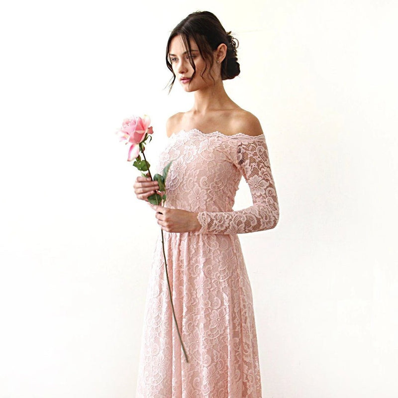 Pink Off-The-Shoulder Lace Dress With Train  #1148