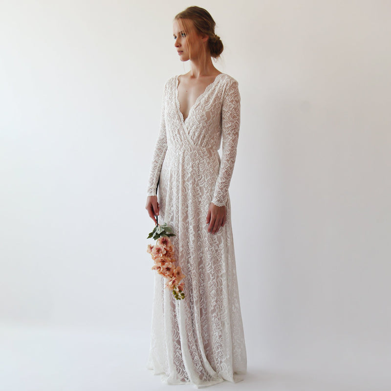 Bestseller Curve & Plus size  Vintage Style Long Sleeves lace wedding dress  #1258