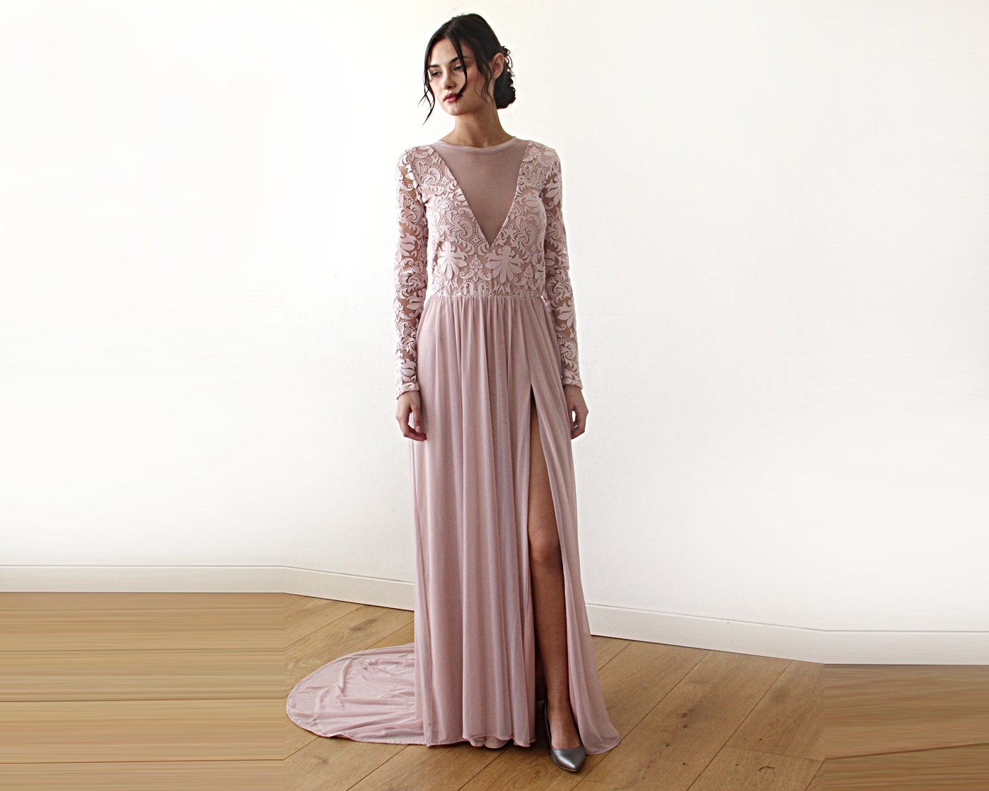 Semi Sheer Wedding dress with Long sleeves chiffon dress, dusty rose dress with train,  1186
