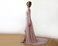 Semi Sheer Wedding dress with Long sleeves chiffon dress, dusty rose dress with train, 3D lace dress 1186