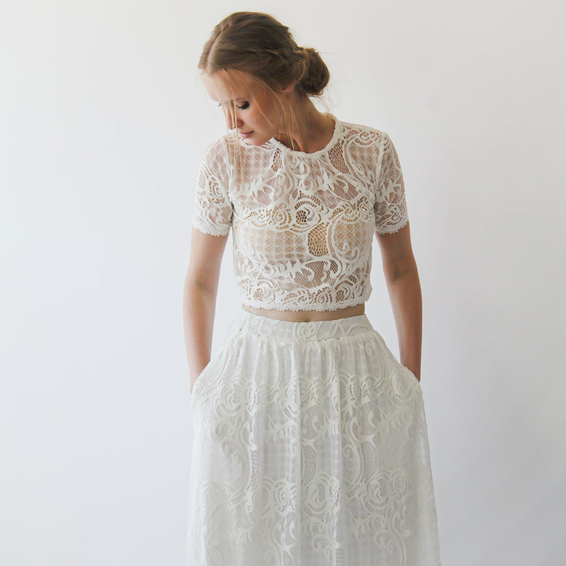 Lace Maxi Skirt with pockets   #3034