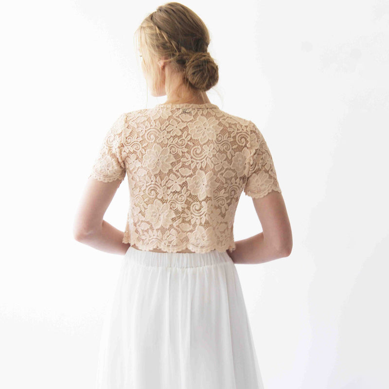 Lace blush short sleeves top #2037
