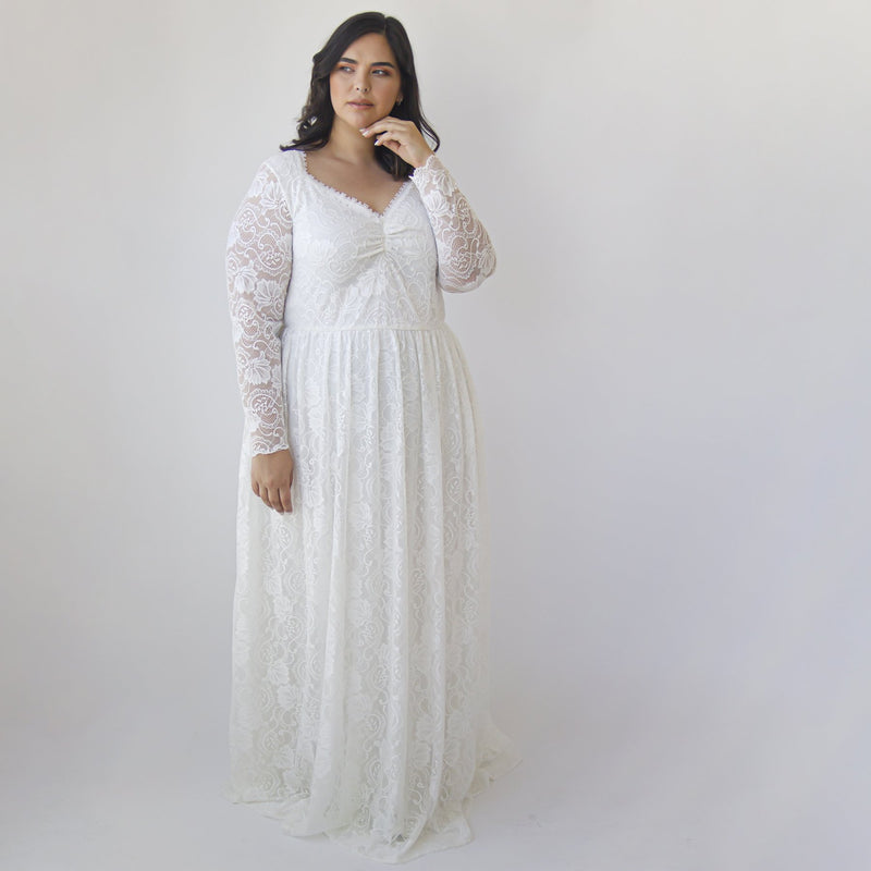 Curve & Plus size Ivory Lace Bohemian , Long Sleeves Wedding Dress #1324