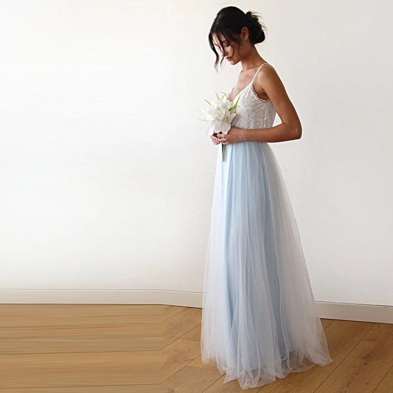 Fairy ivory & light blue tulle dress #1185