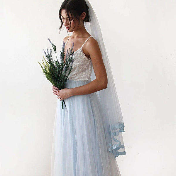 Fairy ivory & light blue tulle wedding gown, two colors dress 1185