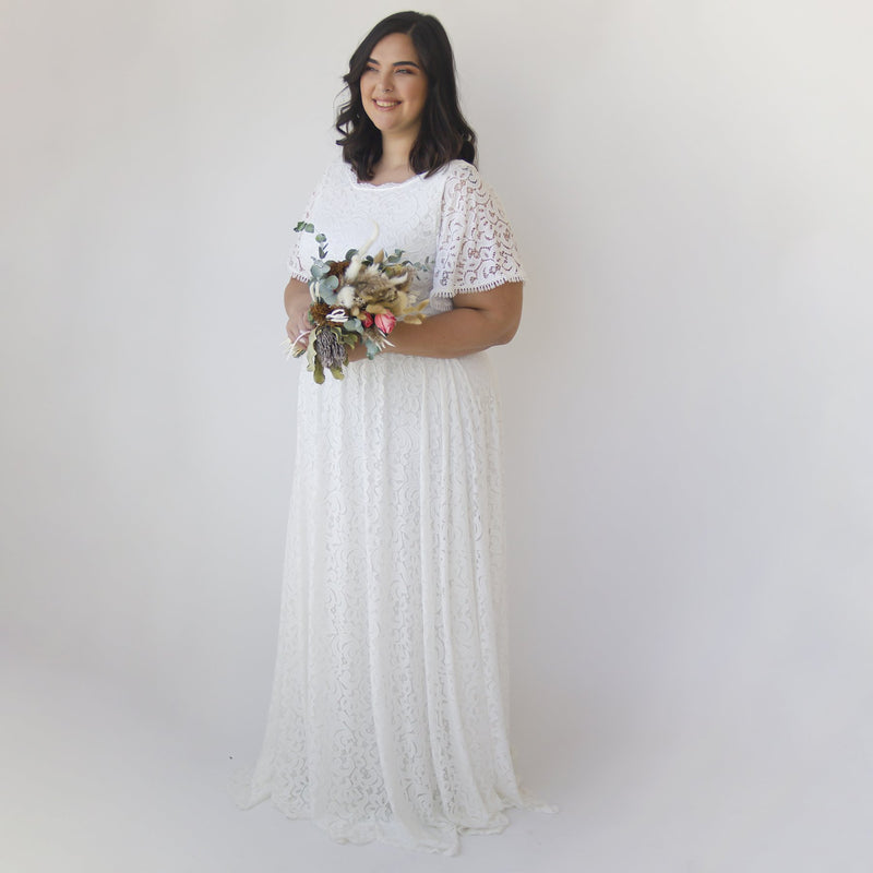 Curve & Plus size Bohemian Butterfly Sleeves , Modest Ivory wedding dress with pockets #1318