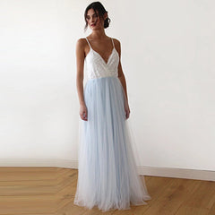Fairy ivory & light blue tulle wedding gown, two colors dress 1185 - Blushfashion