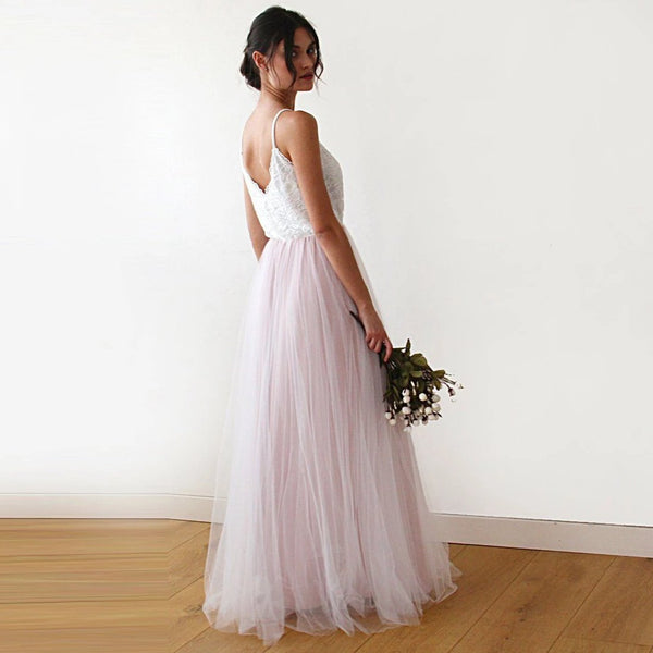 Fairy ivory & pink tulle  dress #1185