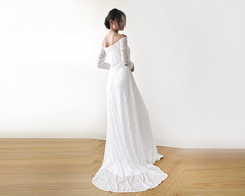 Ivory Wedding Dress with a Slit & Train #1179