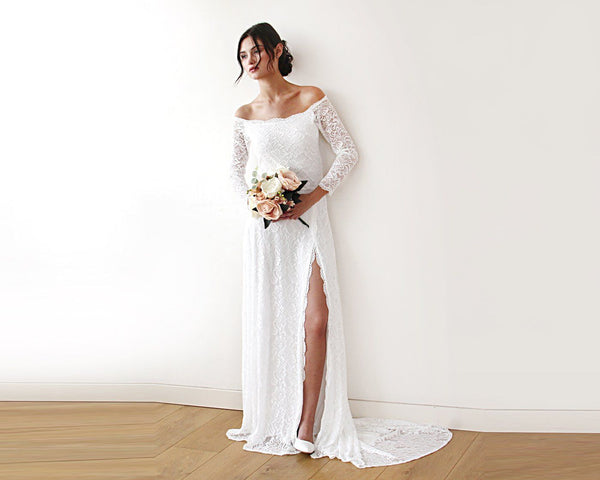 Ivory Wedding Dress with a Slit & Train 1179