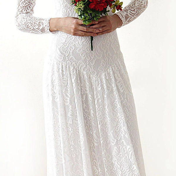 Boho bridal dress, Lace Maxi Wedding dress, Vintage Style Dress, 1182