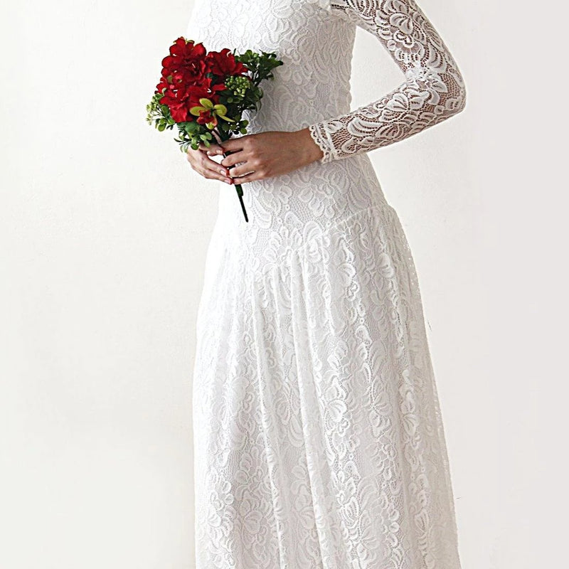 Boho bridal dress, Lace Maxi Wedding dress, Vintage Style Dress, Ivory off-shoulders Gown, medieval style wedding dress, 1182 - Blushfashion
