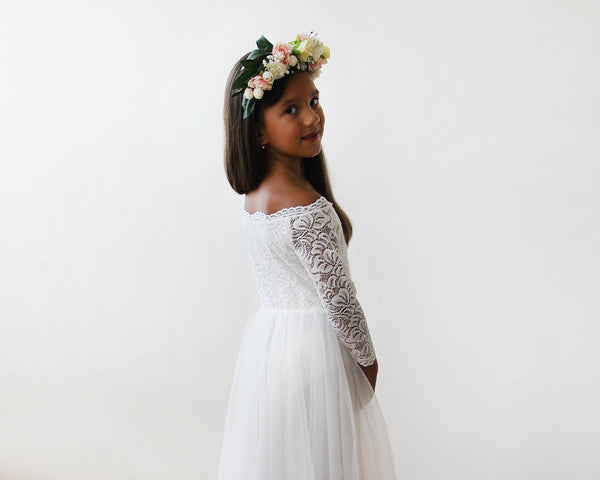 Mini Me Collection Ivory Wedding Dress with Train Off-The-Shoulder Lace and Tulle, Wedding Dresses with Trains, 1162