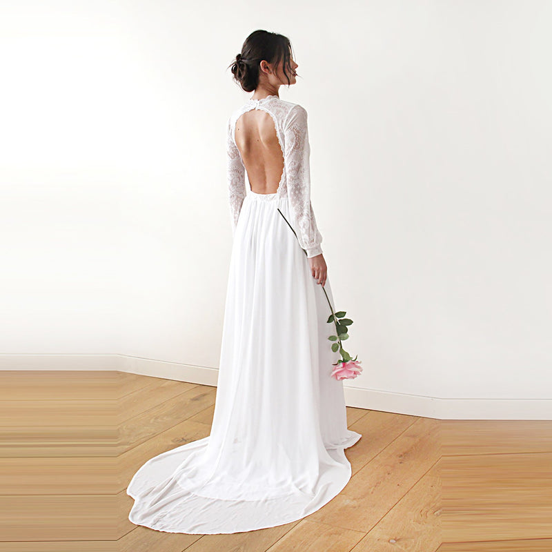 High neck & open back wedding dress  #1181