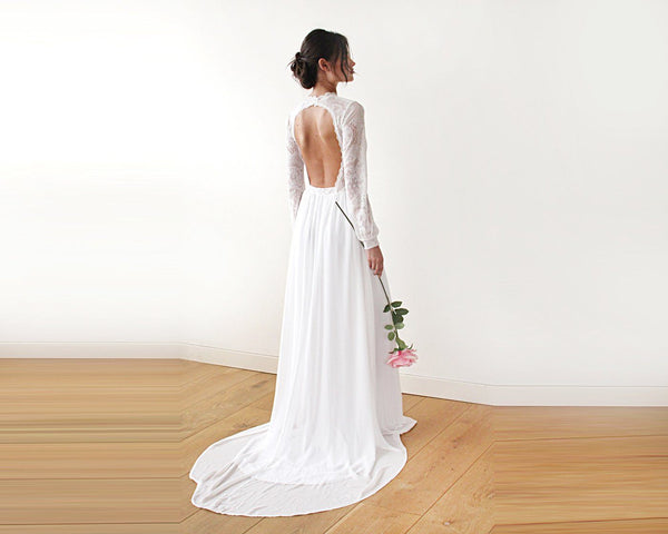 High neck & open back wedding dress, Ivory train dress with open back 1181