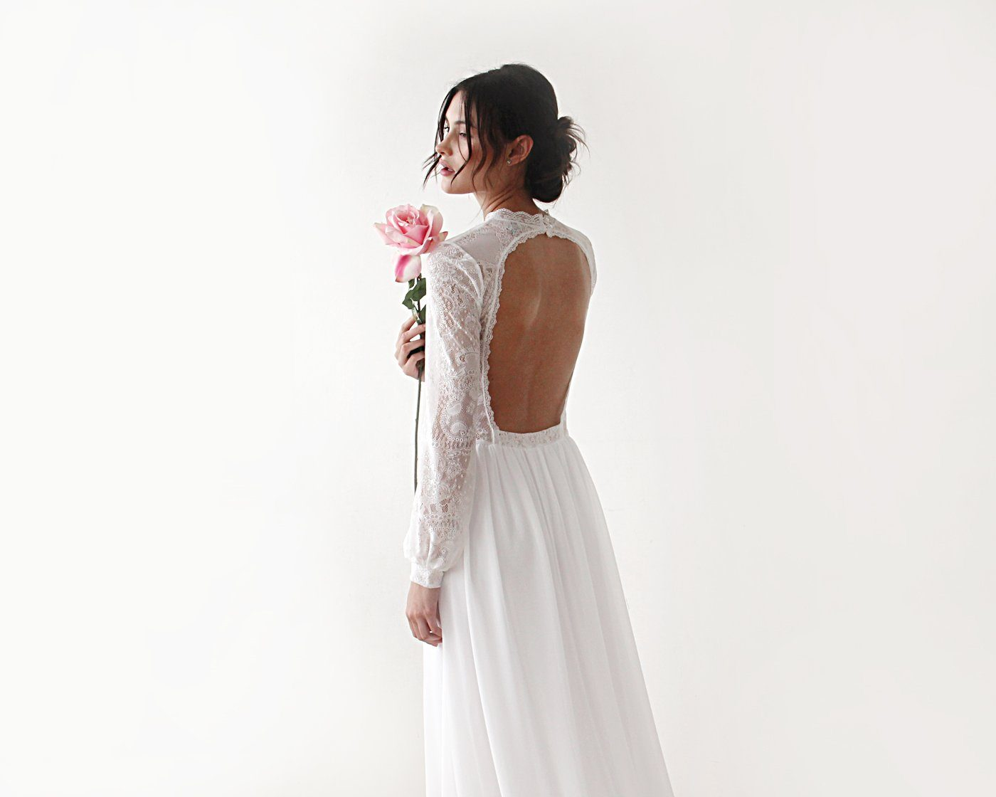 High neck & open back wedding dress, Ivory train dress with open back 1181 - Blushfashion