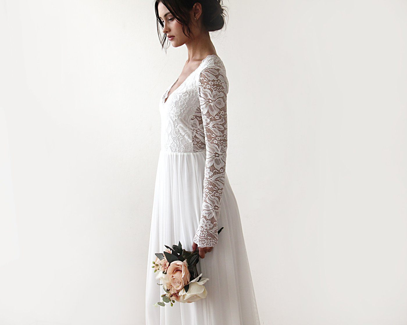 Boho Style wedding dress, Lace V neck bridal gown, Lace and Chiffon Dress,  1187