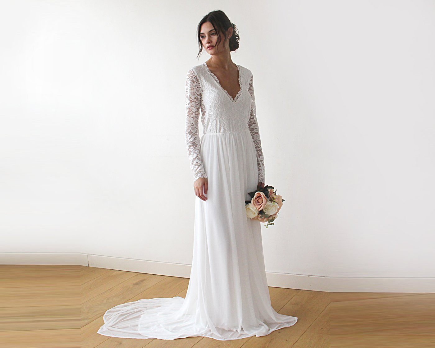 Boho Style wedding dress, Lace V neck bridal gown, Lace and Chiffon Dress, Lightweight wedding dress, Comfortable wedding dress 1187