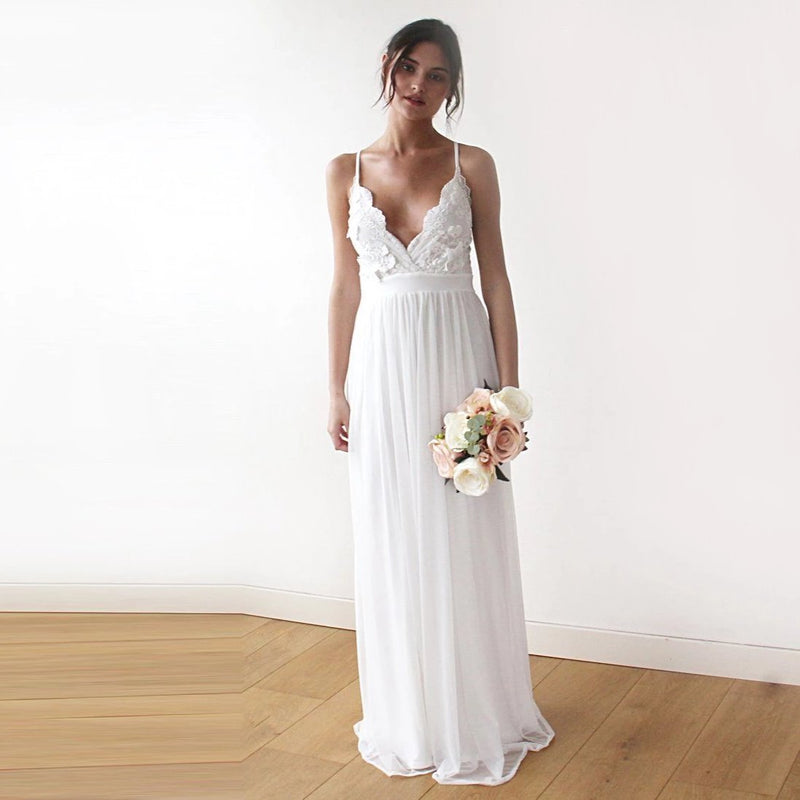 Lace spaghetti straps maxi dress, 3D Flower lace ivory wedding dress 1188 - Blushfashion