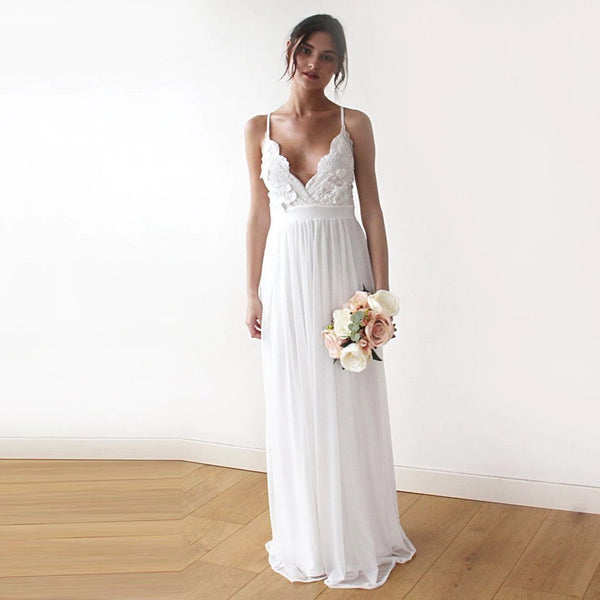 Lace spaghetti straps maxi dress, 3D Flower lace ivory wedding dress 1188