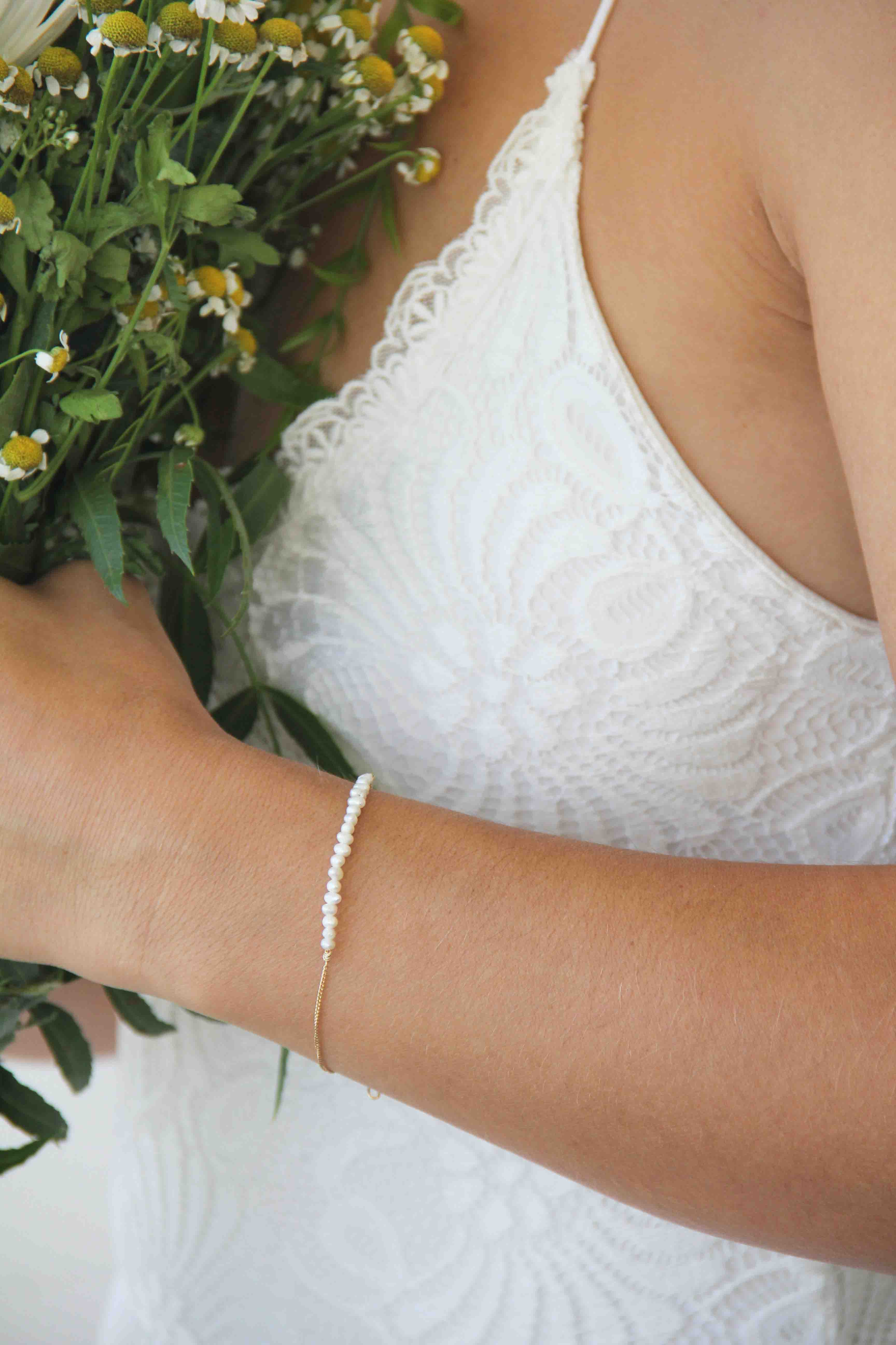 Pearls Bar Gold Bracelet, Natural Pearl Bracelet, Gold Bracelet, Bridesmaids Gift, 4042