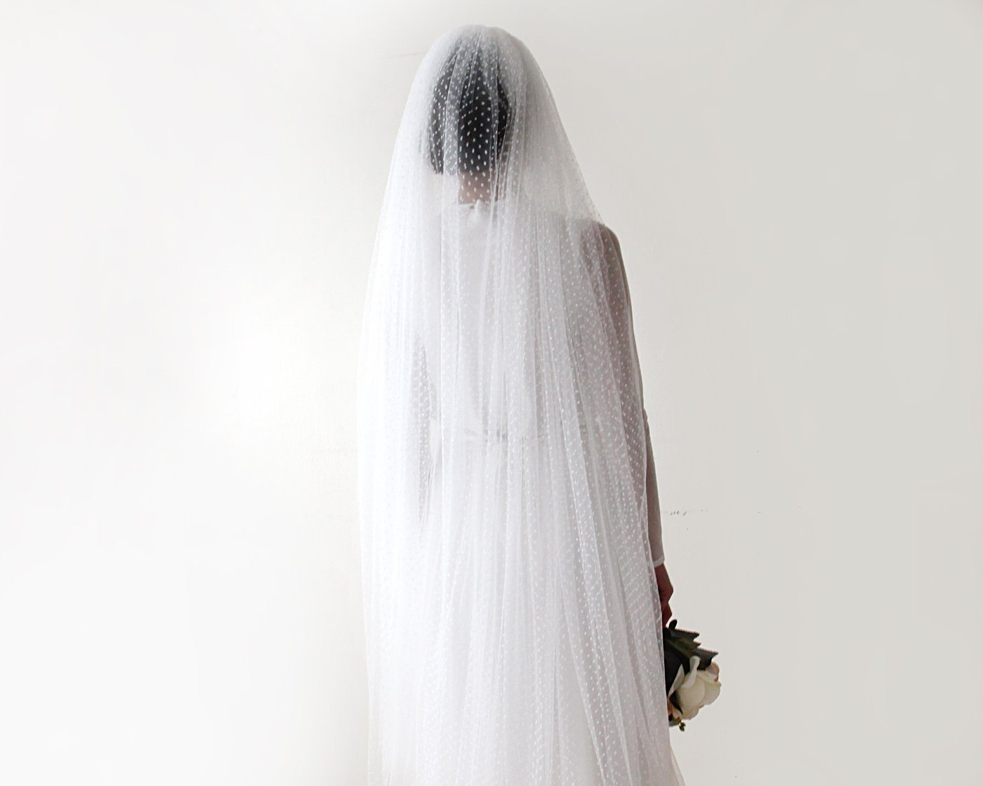 wedding Veil, fingertip length veil, dots tulle veil, mid length veil 4019