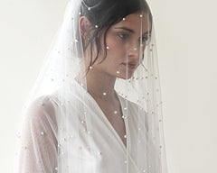 wedding Veil, fingertip length veil, veil with pearl, mid length veil  4022 - Blushfashion