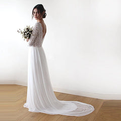 Ivory Boho open back Dress,  Deep V shape bridal gown, Lace and Chiffon Dress, Lightweight wedding dress, Comfortable wedding dress 1192