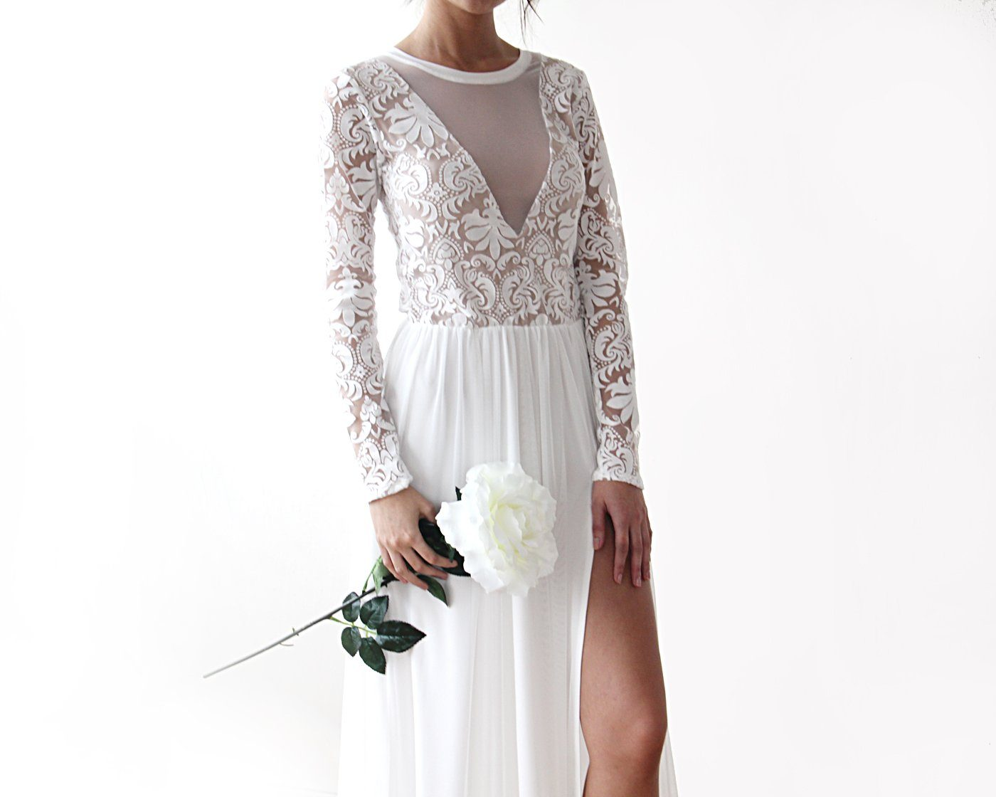 Semi Sheer Wedding dress with Long sleeves chiffon dress, Wedding dress with train, 3D lace bridal gown, Ivory wedding dress 1186