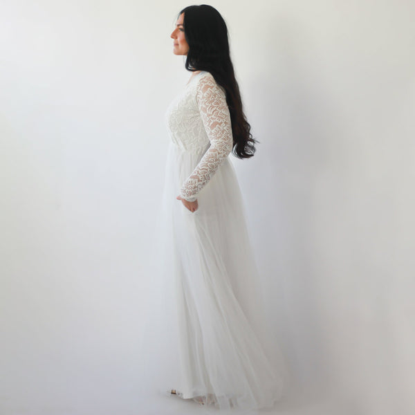Ivory Lace Long Sleeves Wedding Dress with pockets  #1266