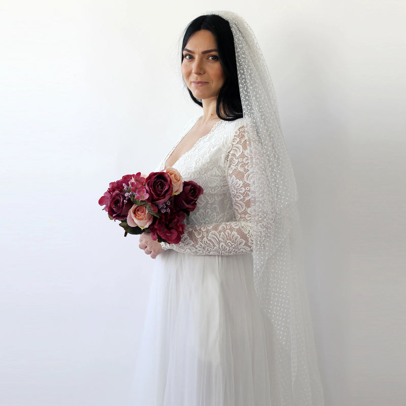 Dots tulle Wedding Veil #4019