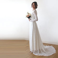 Ivory Lace tulip wrap, Long sleeves lace dress, Wedding dress with train, wedding dress 1195 - Blushfashion