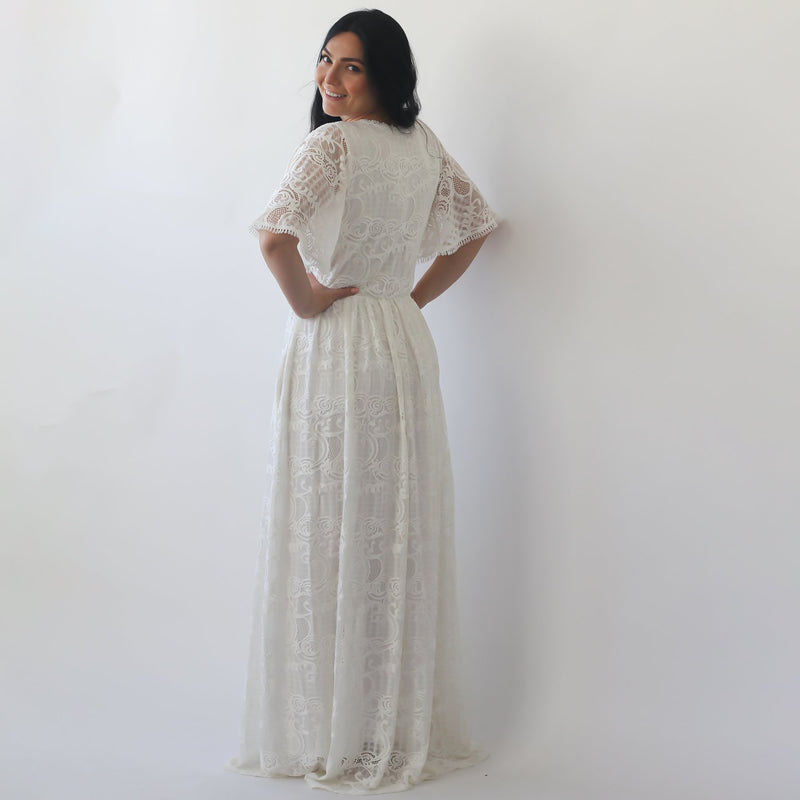 Butterfly Sleeves Boho  wedding dress with pockets #1267
