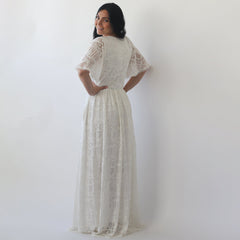 Curve & Plus size Sleeves lace wedding dress, Flutter Sleeves Ivory boho wedding dress with pockets 1267