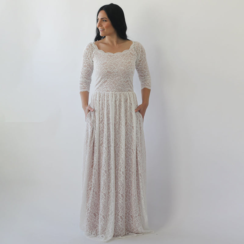 Curve & Plus size  Ivory nude Off Shoulder Wedding  Dress #1264