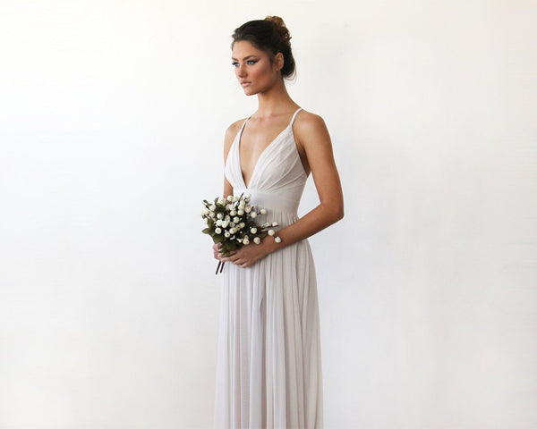 Chiffon Maxi wrap with thin straps - Ivory maxi dress with adjustable straps 1170