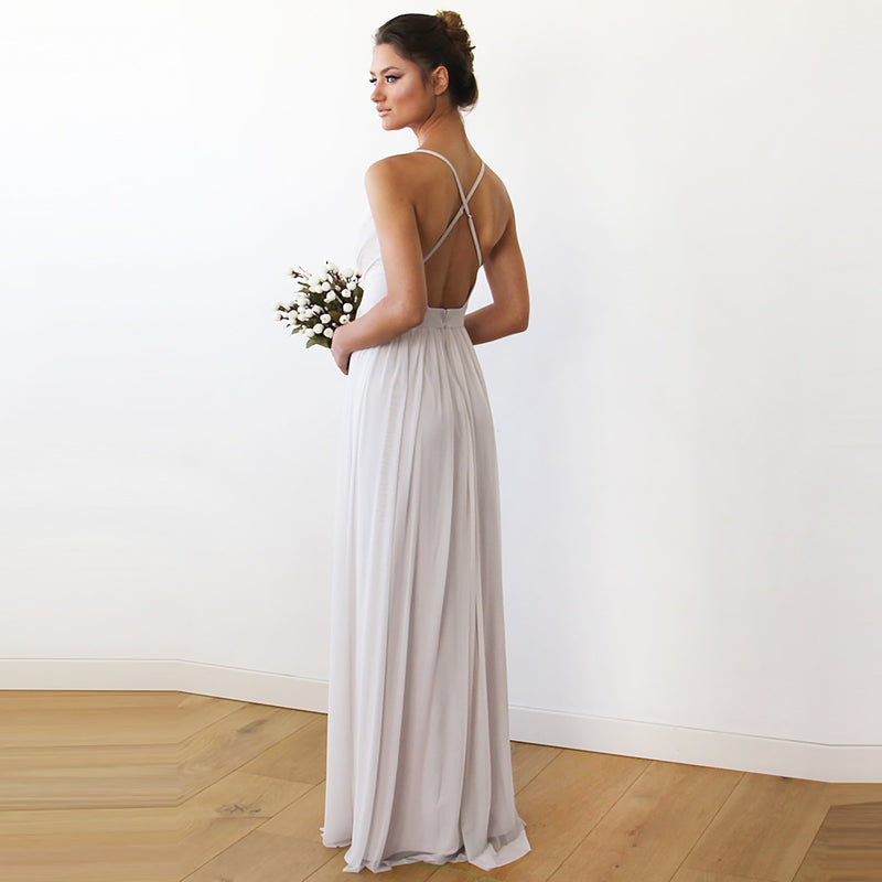 Ivory maxi dress with adjustable straps #1170