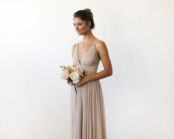 Chiffon Maxi wrap with thin straps - Champagne maxi dress with adjustable straps 1170