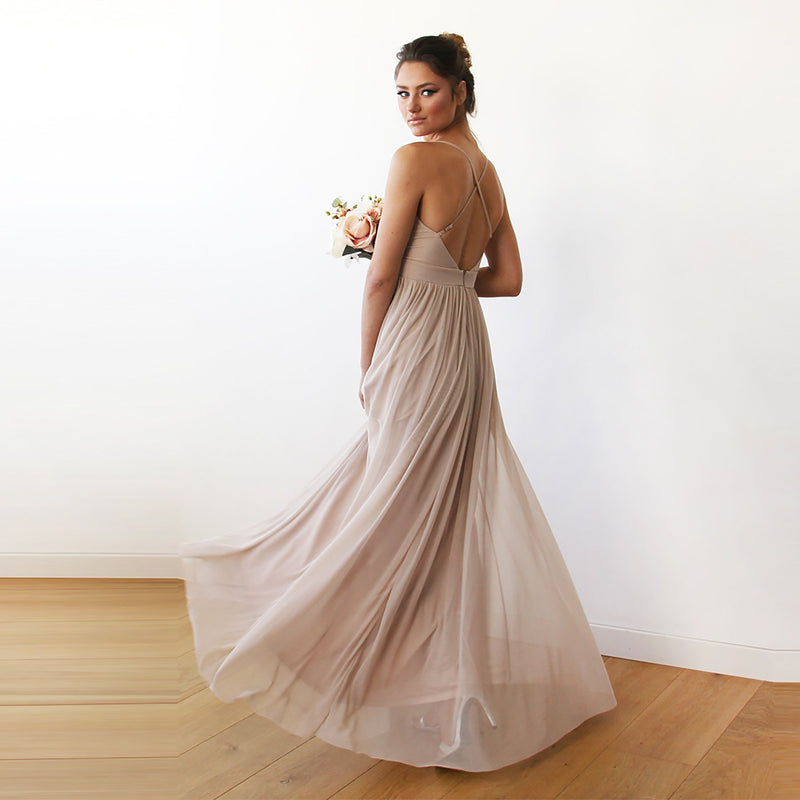 Champagne maxi dress with adjustable straps #1170