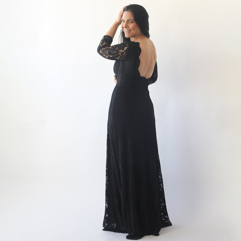 Black Floral Lace Maxi Gown With Open-Back   #1118