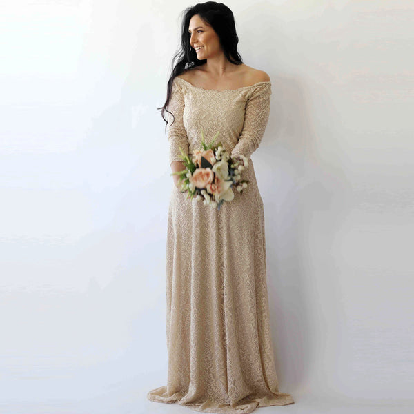 Curve & Plus size Champagne Off-The-Shoulder Floral Lace Medium-Long Sleeve Maxi Dress 1119