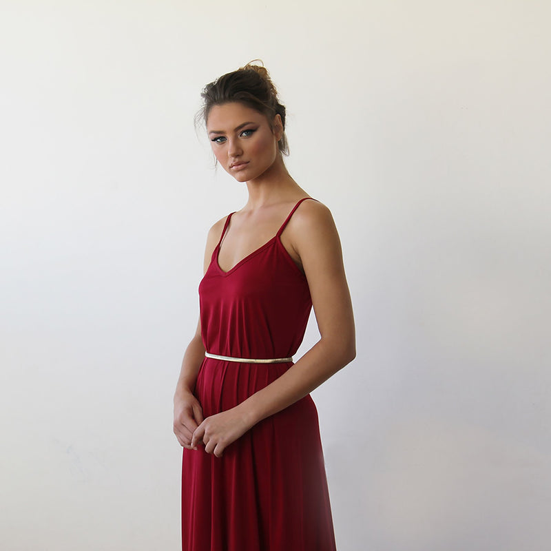 Bordeaux Maxi dress with thin straps 1026