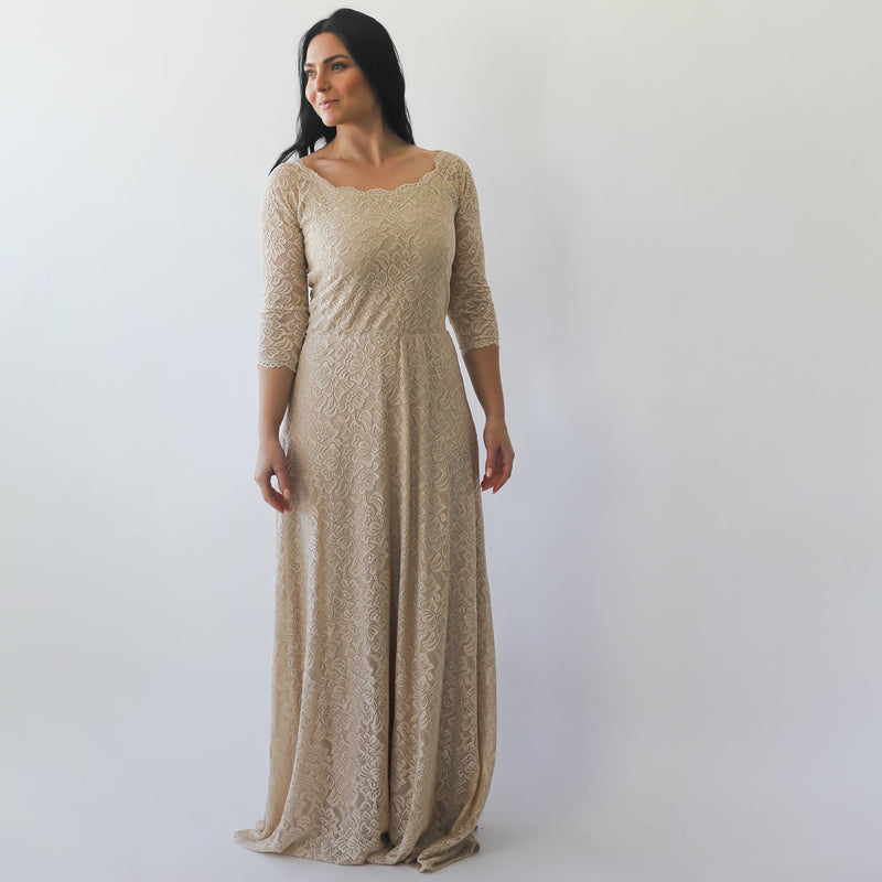 Curve & Plus size Champagne Off-The-Shoulder  Dress #1119