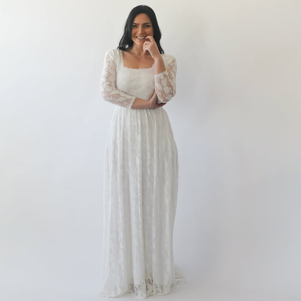 Curve & Plus size Ivory Square Neckline  Wedding Dress #1271