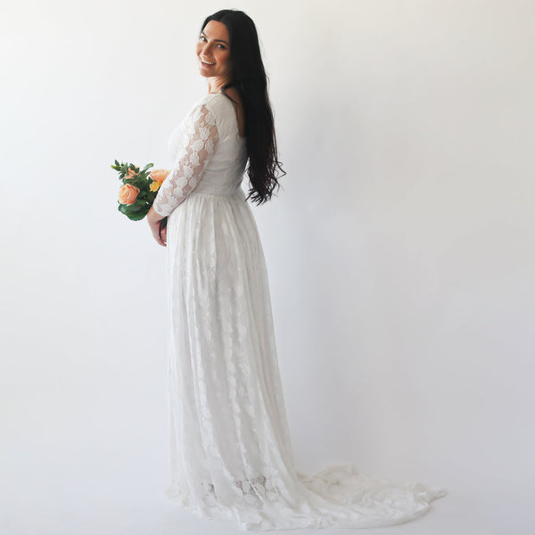 Curve & Plus size Ivory Square Neckline Vintage inspired Wedding Dress , Ivory Lace Long Sleeves dress,  1272