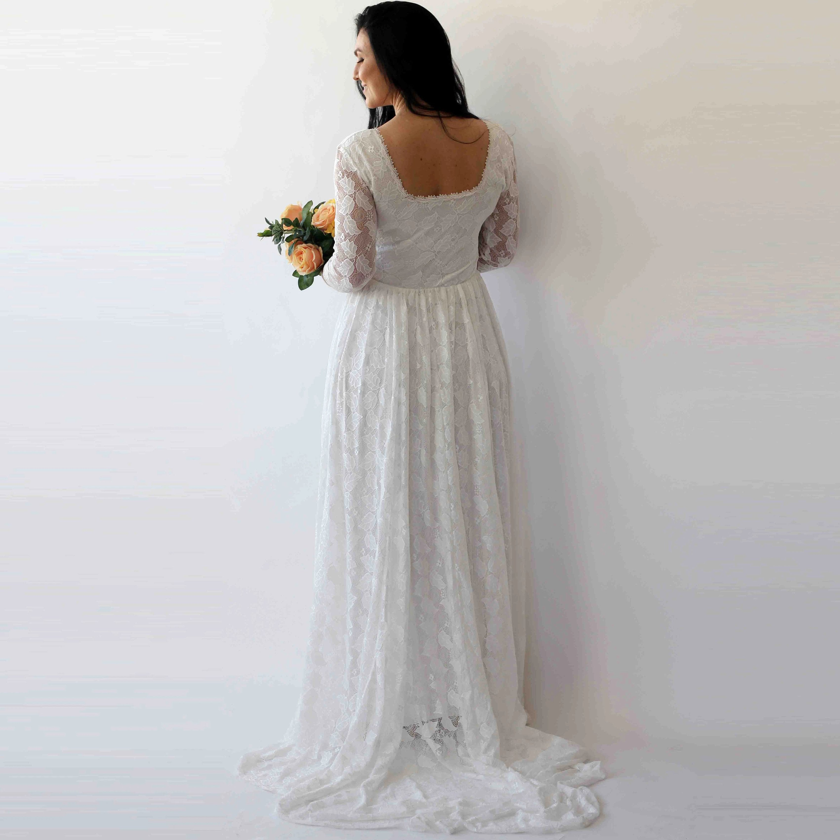 Ivory Square Neckline Vintage inspired Wedding Dress , Ivory Lace Long Sleeves dress,  1272