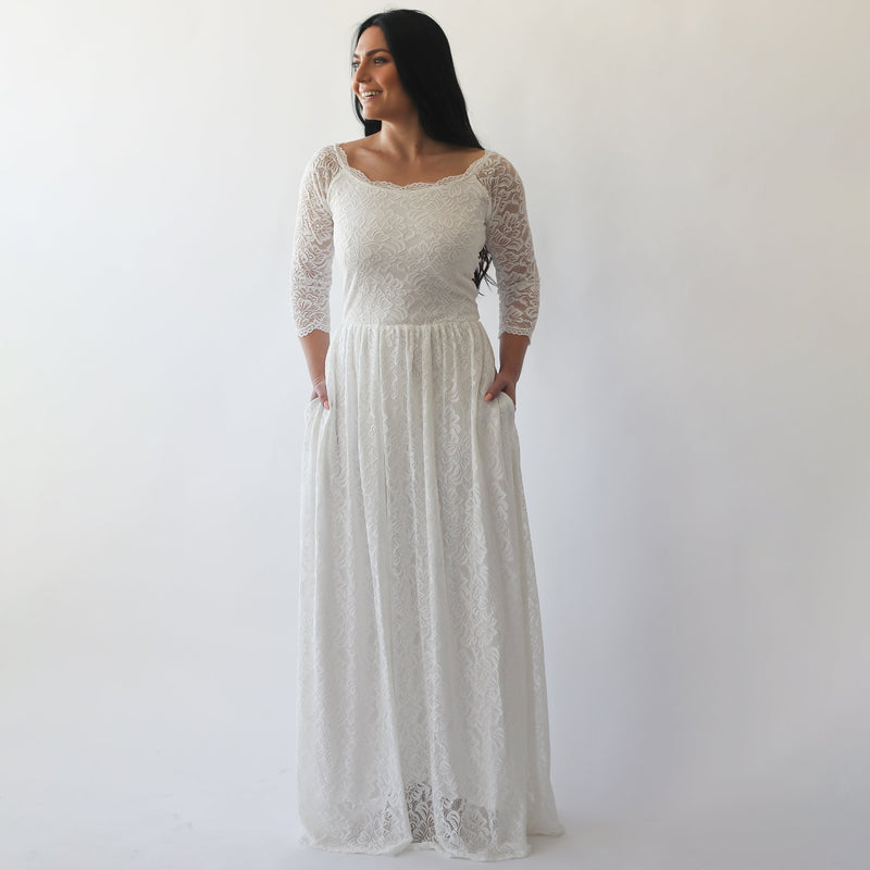 Curve & Plus size Off-The-Shoulder Ivory  Dress with pockets #1270