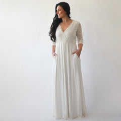 Curve & Plus size Sleeves lace wedding dress, Ivory boho wedding dress 1273