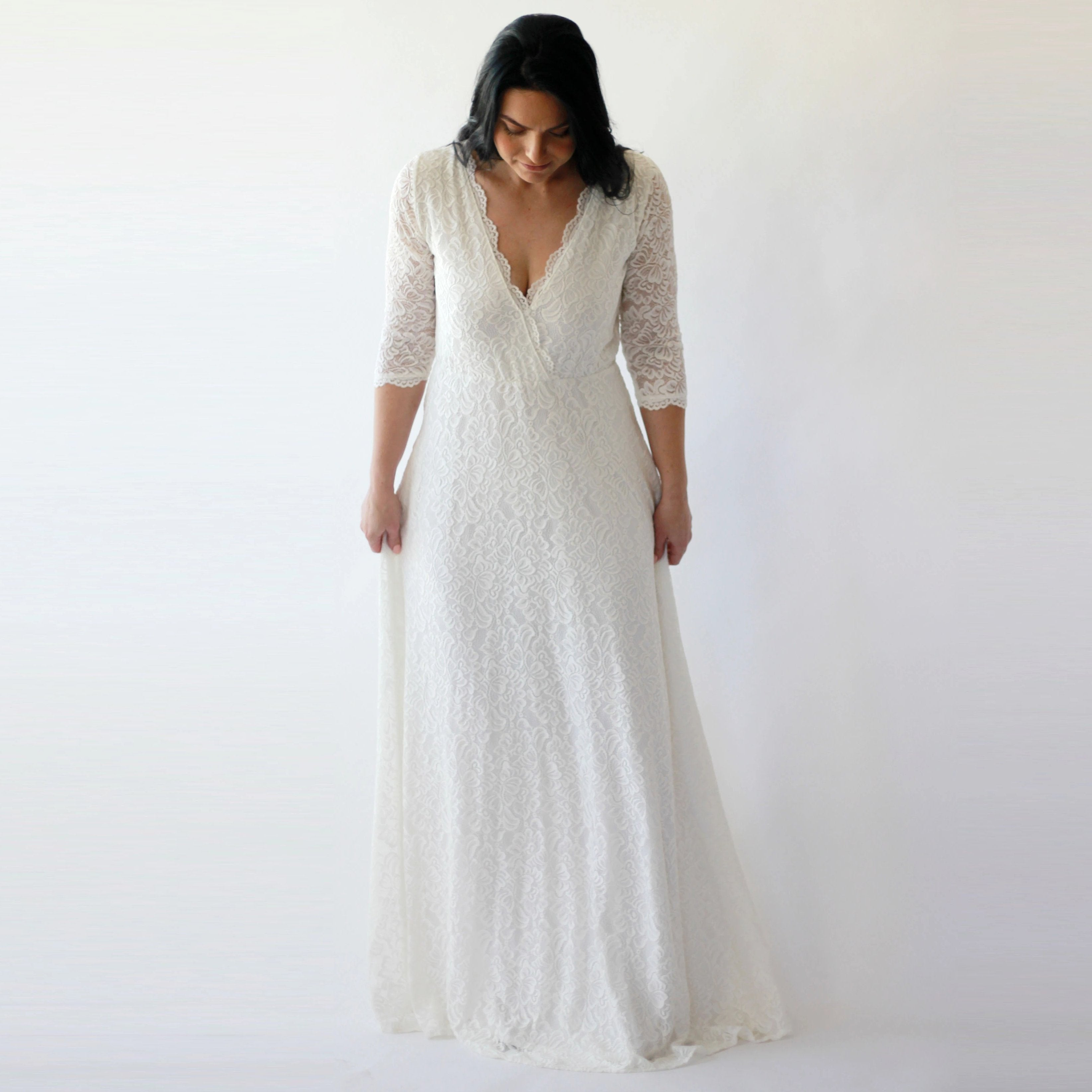Sleeves lace wedding dress, Ivory boho wedding dress 1273