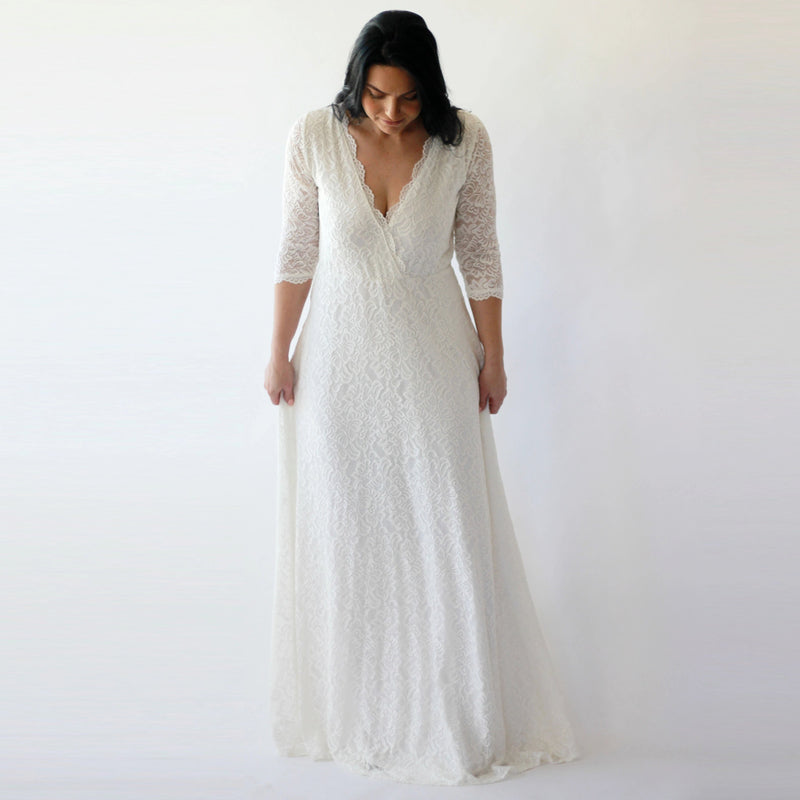 Wrap lace wedding dress with pockets #1273